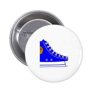 Blue Basketball Sneaker Pinback Button