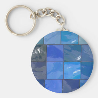 Blue Bathroom Tiles Design Basic Round Button Key Ring