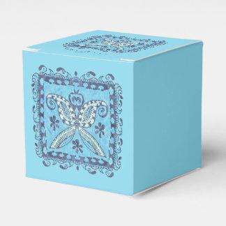 Blue Batik Abstract Butterfly Favor Box