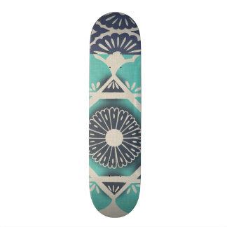 Blue Batik Tile II Custom Skateboard