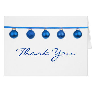 Blue Baubles on Ribbon Christmas Thank You Note Greeting Card