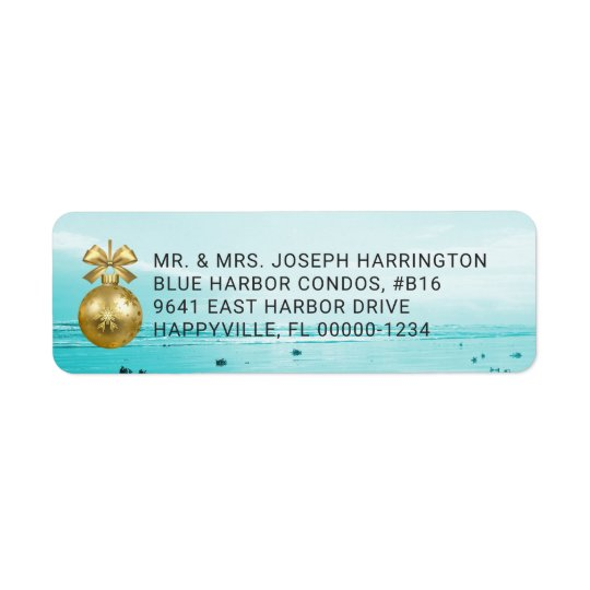Blue Beach Christmas Return Address Labels
