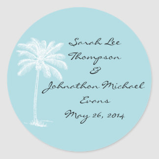 Blue Beach Getaway Wedding Seals Stckers Stickers