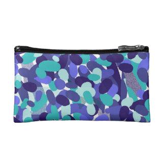 Blue 'beach glass' design cosmetic case