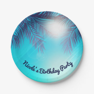 Blue BEACH PARTY Sunny Palm Trees Summer Birthday 7 Inch Paper Plate
