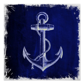 blue beach rustic shabby chic nautical anchor poster