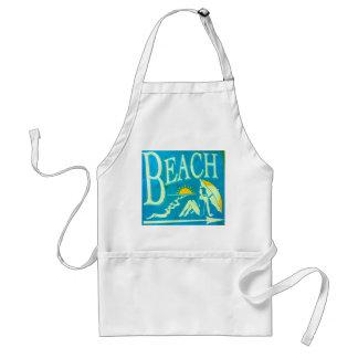 blue beach sign apron