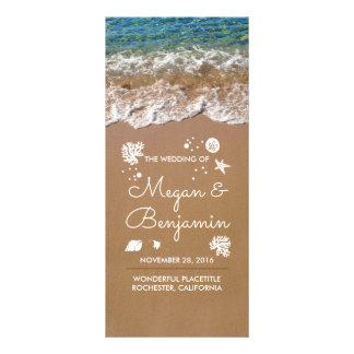 Blue Beach Waves and Sand Wedding Programs Full Color Rack Card