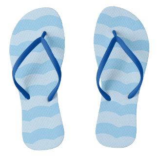 Blue Beach Waves Flip Flops