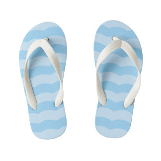 Blue Beach Waves Kids Flip Flops