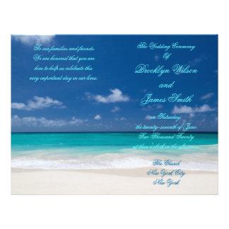 Blue Beach Wedding Ceremony Program Flyer