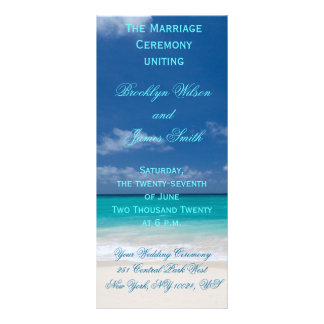 Blue Beach Wedding Ceremony Programs Personalised Rack Card