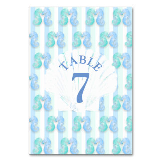 Blue Beachy Seahorse Wedding Table Number Card