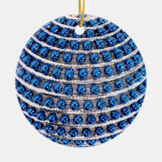 Blue Beaded Ceramic Ornament