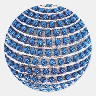 Blue Beaded Classic Round Sticker