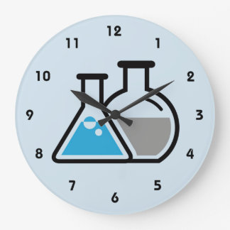 Blue Beakers Scientific Design Wall Clock