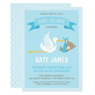 Blue Bear and Stork Baby Shower Invitation