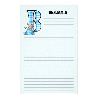 Blue Bear Mongrammed B Lined Stationery