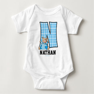 "Blue Bear Monogram ""N"" Baby Apparel Baby Bodysuit"