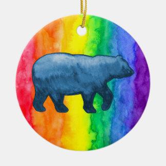 Blue Bear on Rainbow Wash Circle Ornament