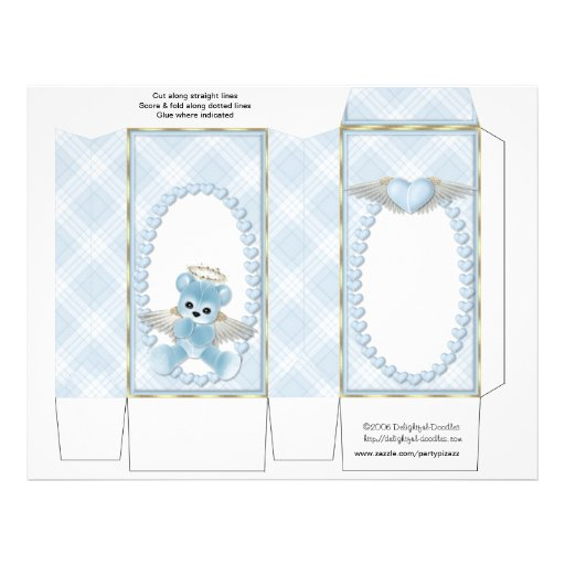 Blue Bear Pinch Box Party Favors.  Baby Shower Flyer Design