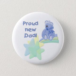 Blue Bear Proud New Dad 6 Cm Round Badge