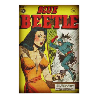 Blue Beetle Vintage Golden Age Comic Book Poster