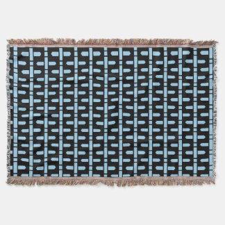 Blue Begs accent Black Motif Throw Blanket