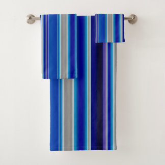 Blue, Beige and Lavender Stripes Bath Towel Set