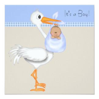 Blue Beige Gingham Stork Baby Boy Shower 13 Cm X 13 Cm Square Invitation Card