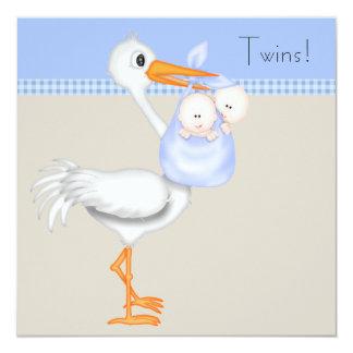 Blue Beige Gingham Stork Twin Baby Boy Shower 13 Cm X 13 Cm Square Invitation Card