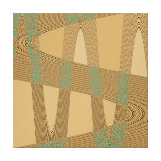 Blue Beige Modern Abstract Wave Pattern Stretched Canvas Prints