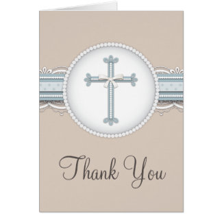 Blue | Beige Religious Celebration Thank You Card