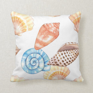 Blue & Beige Seashells Pattern Cushion