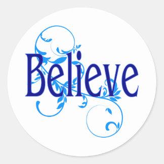 Blue Believe with Blue Flourish Sticker