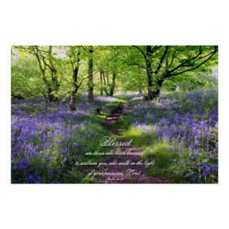 Blue bells forest, Christian poster, psalm 89 Poster