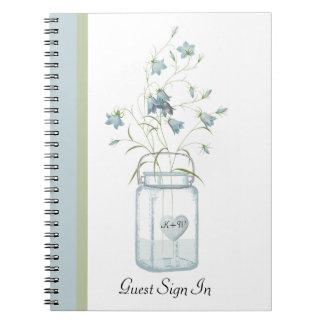 Blue Bells in a Mason Jar Wedding Guest Notebook