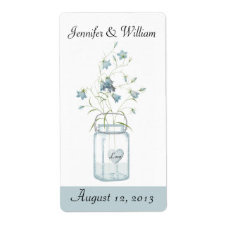 Blue Bells in a Mason Jar Wedding Mini Wine Label