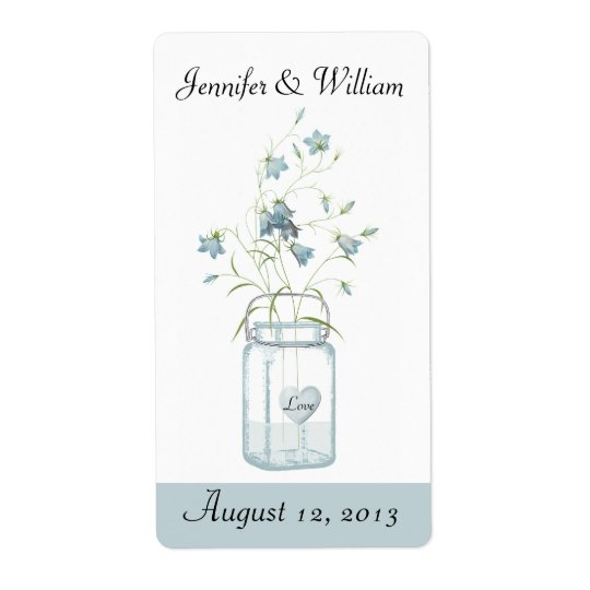 Blue Bells in a Mason Jar Wedding Mini Wine Label Shipping Label