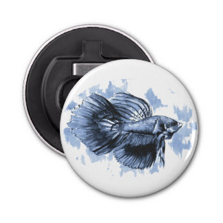 Blue Betta Button Bottle Opener