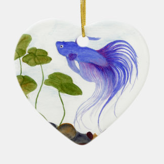 Blue Betta Fish Ceramic Ornament