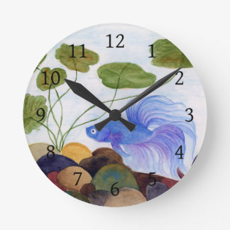 Blue Betta Fish Round Clock