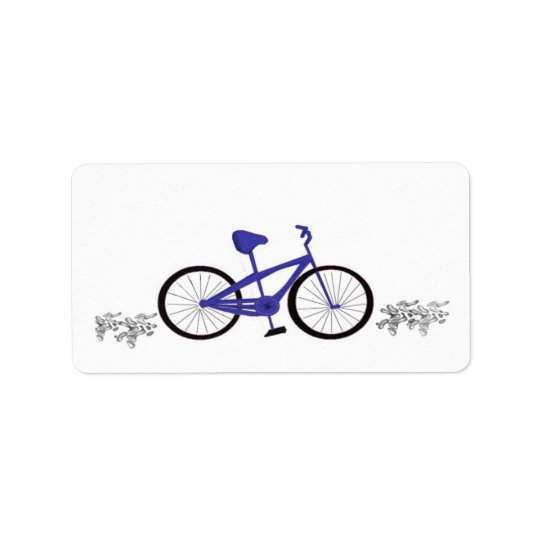 Blue Bicycle Address Label