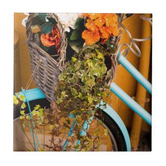 Blue Bicycle Basket Ceramic Tile