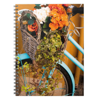 Blue Bicycle Basket Spiral Notebook