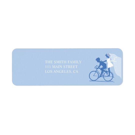 Blue Bicycle Couple Wedding Return Address Label