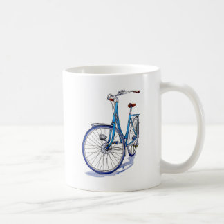 Blue bicycle drawing coffee mug