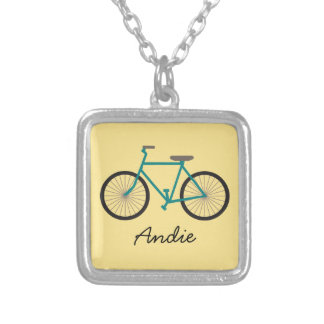 Blue Bicycle on Yellow Silver Plated Necklace