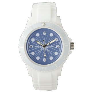 Blue bicycle wheel sports wristwatch