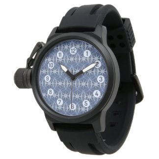 Blue bicycle wheels sporting watch